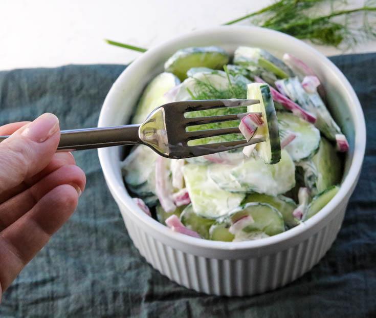 Guilt Free Creamy Cucumber Salad Low Carb, No Sugar, No Fat