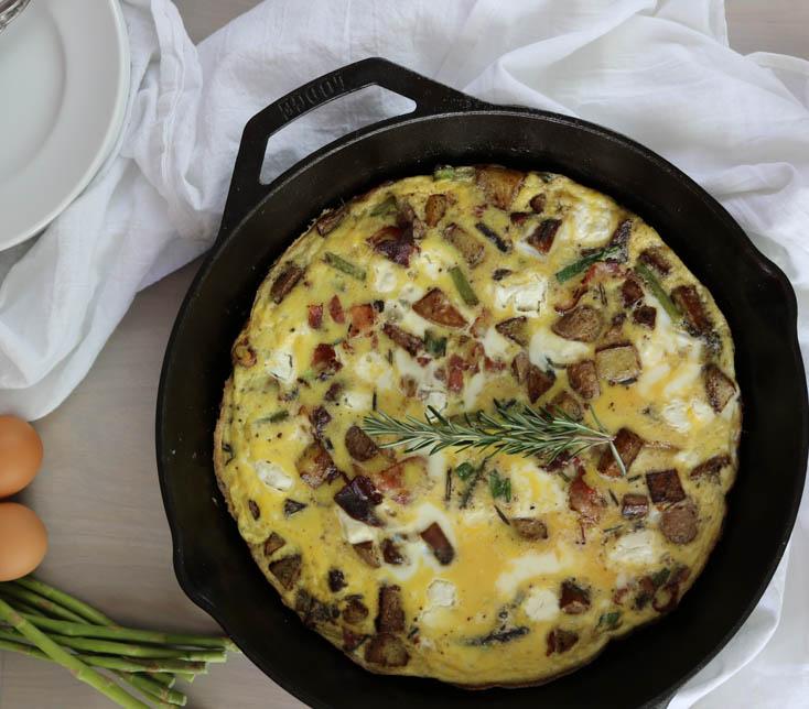 Pancetta Asparagus and Goat Cheese Frittata