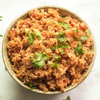 Spanish Rice Made with Cauliflower - Cauliflower Rice