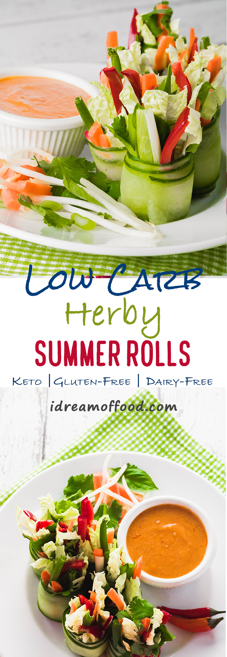 We took one of our favorite appetizers, Vietnamese Summer Rolls, and revamped them to fit a keto lifestyle. THey're actually easier to make than the orginal too! I love how fragrant and herby they are. I like to make my marinade a little spicy too, which gives them a wonderful kick. Try these low-carb veggie rolls with a dipping sauce, such as my low-carb Thai peanut sauce! www.idreamoffood.com