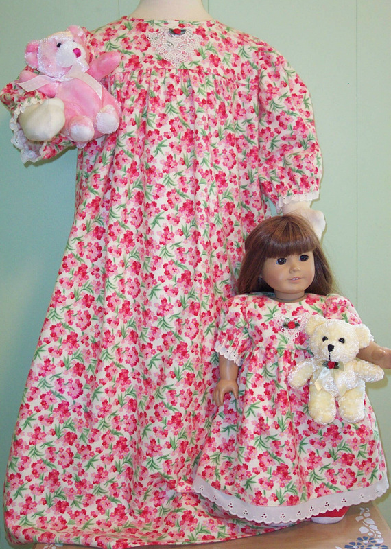 pink floral doll and girl gown 3