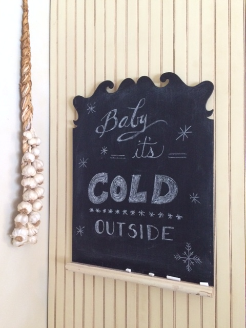 Baby it's cold outside chalkboard drawing from cindy
