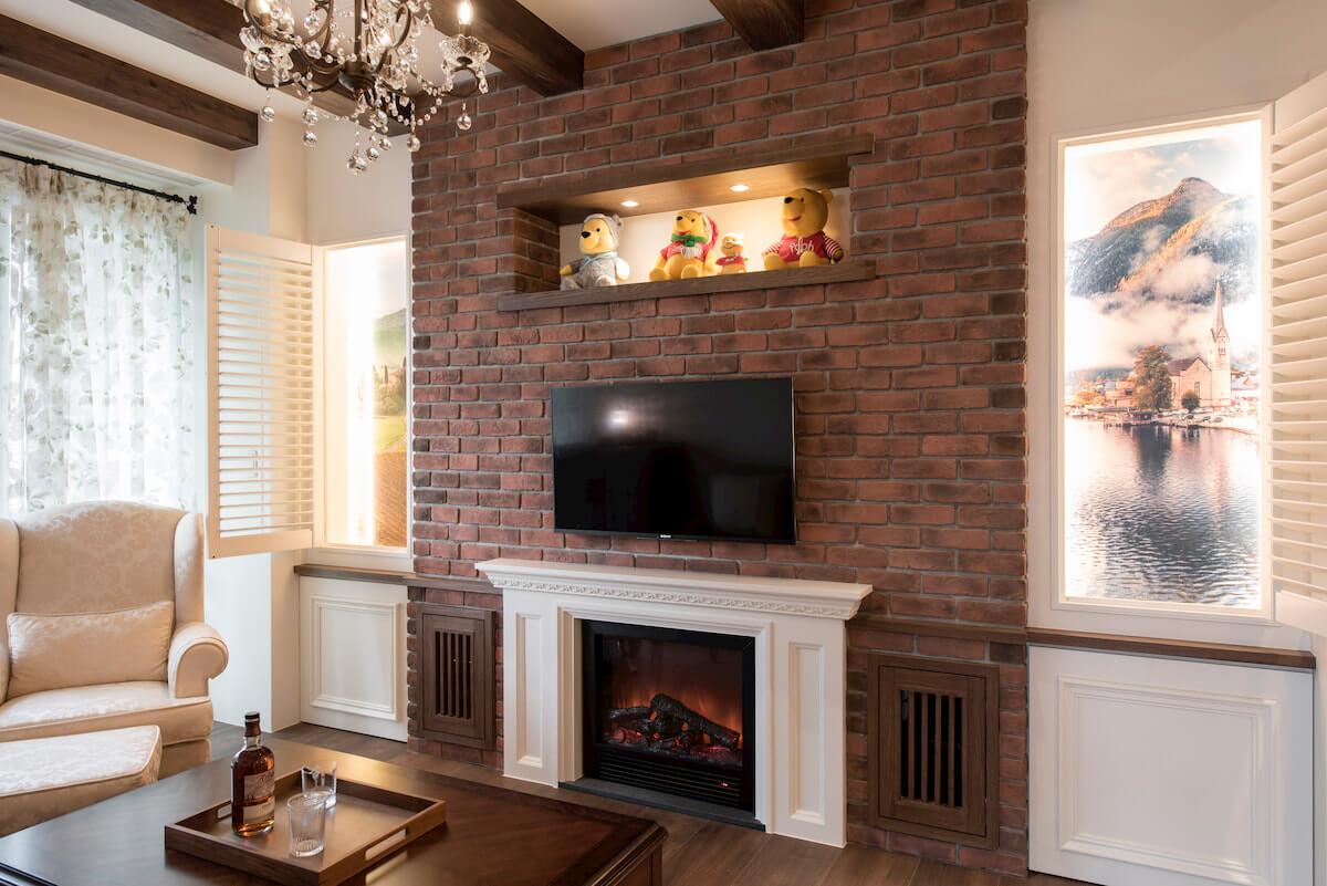 鄉村風元素:磚牆與壁爐