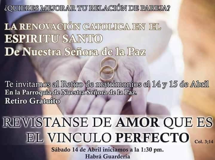 La RCES de Nuestra Señora de la Paz te invita a: Retiro de Matrimonios