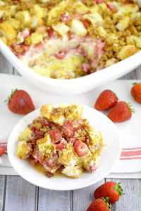 Strawberry Cream Cheese French Toast Bake and other strawberry recipes at www.idyllicpursuit.com