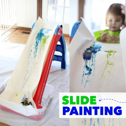 Slide painting and other messy toddler activities at idyllicpursuit.com