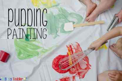 Pudding Painting and other messy toddler activities at idyllicpursuit.com