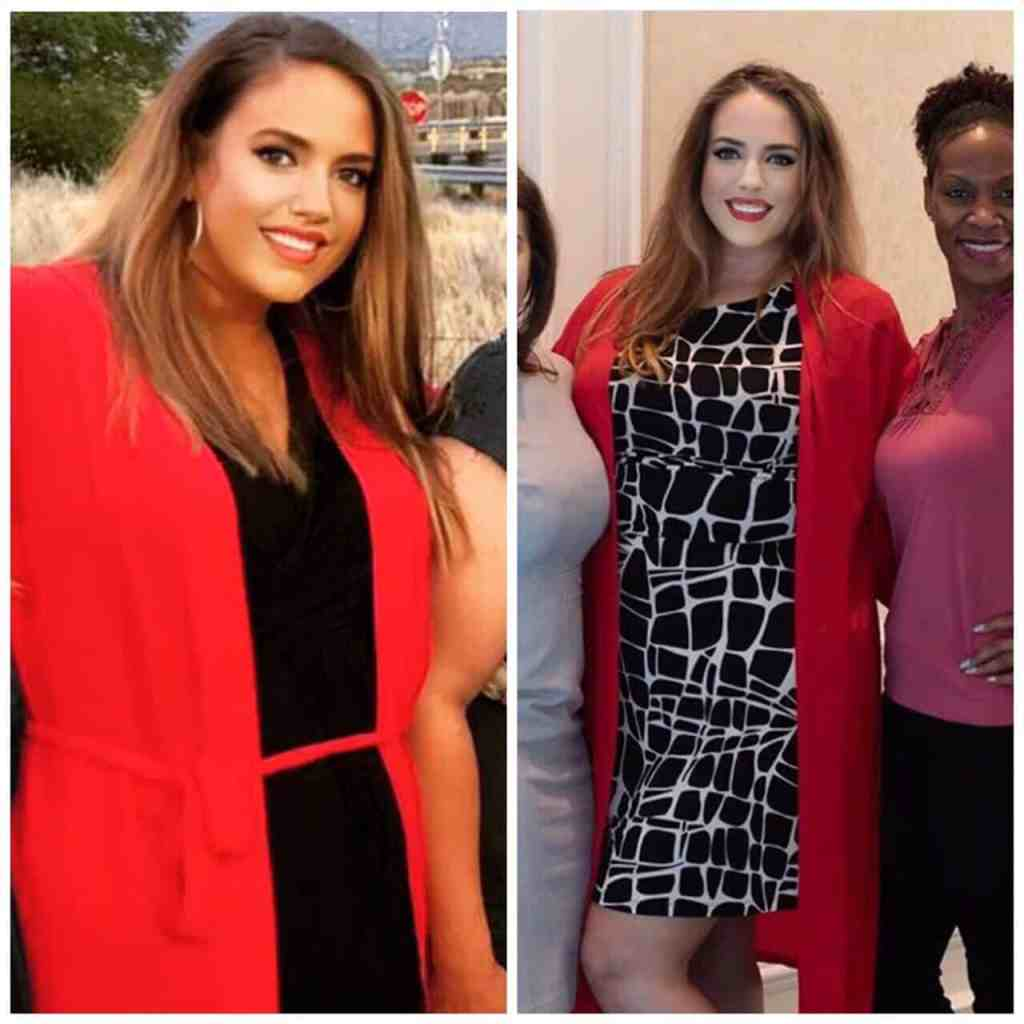 Before and after keto transformation shows a 42 lb weight loss.
