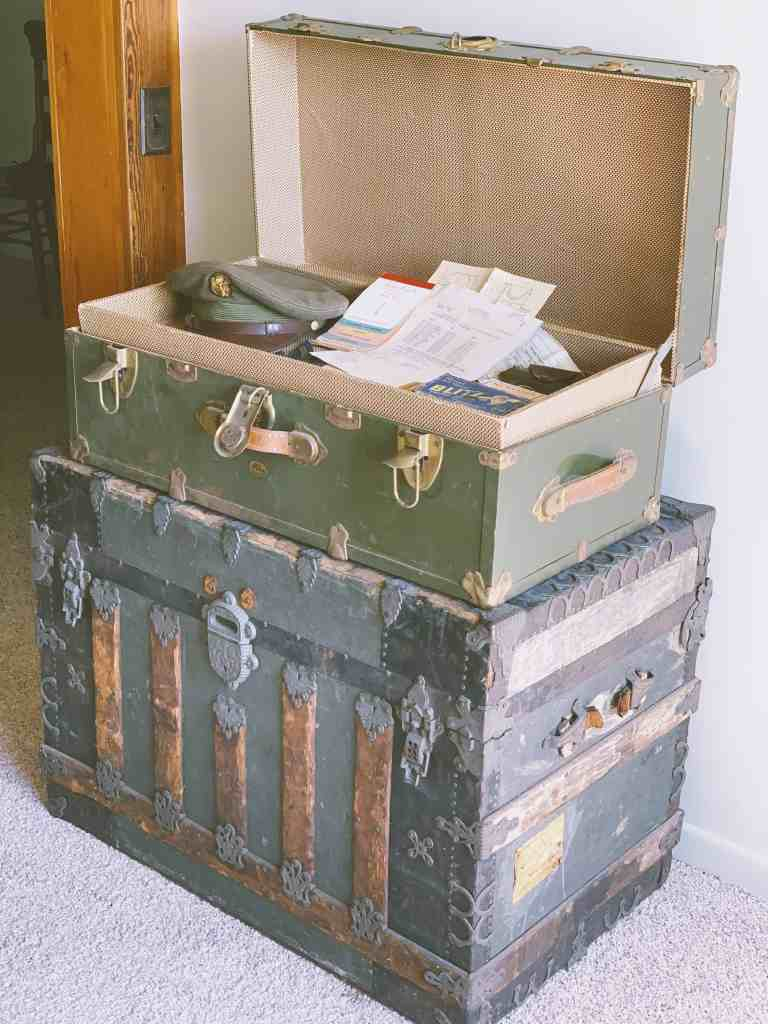 An old trunk full of war memorabilia at the Nathaniel Hamlin Museum