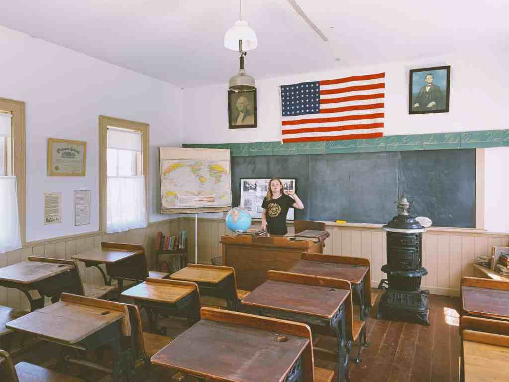 One room schoolhouse at the Nathaniel Hamlin Museum in Audubon, Iowa