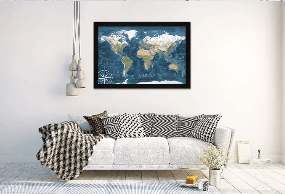 GeoJango World Map and couch