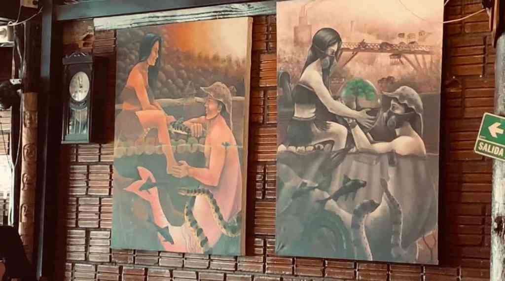 Paintings of the Amazon River at Tierras Amazonicas restaurant