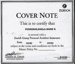 Insurance Cover Note