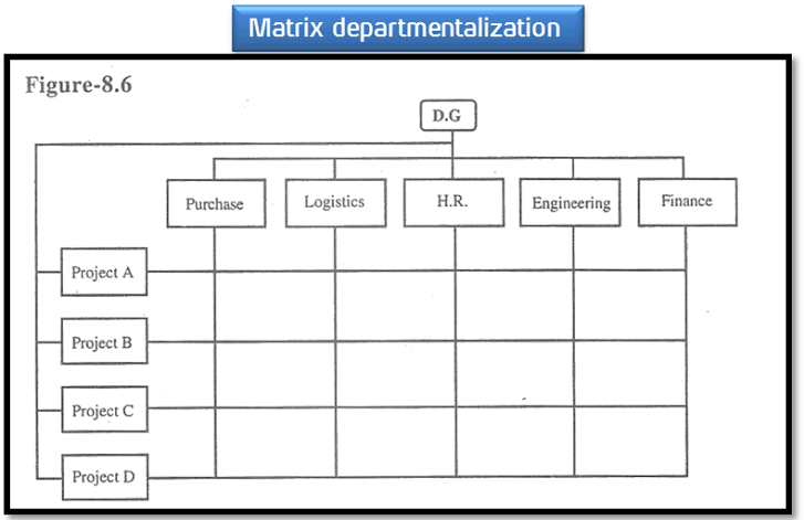 Matrix departmentalization is a combination of functional departmentalization and task force departmentalization