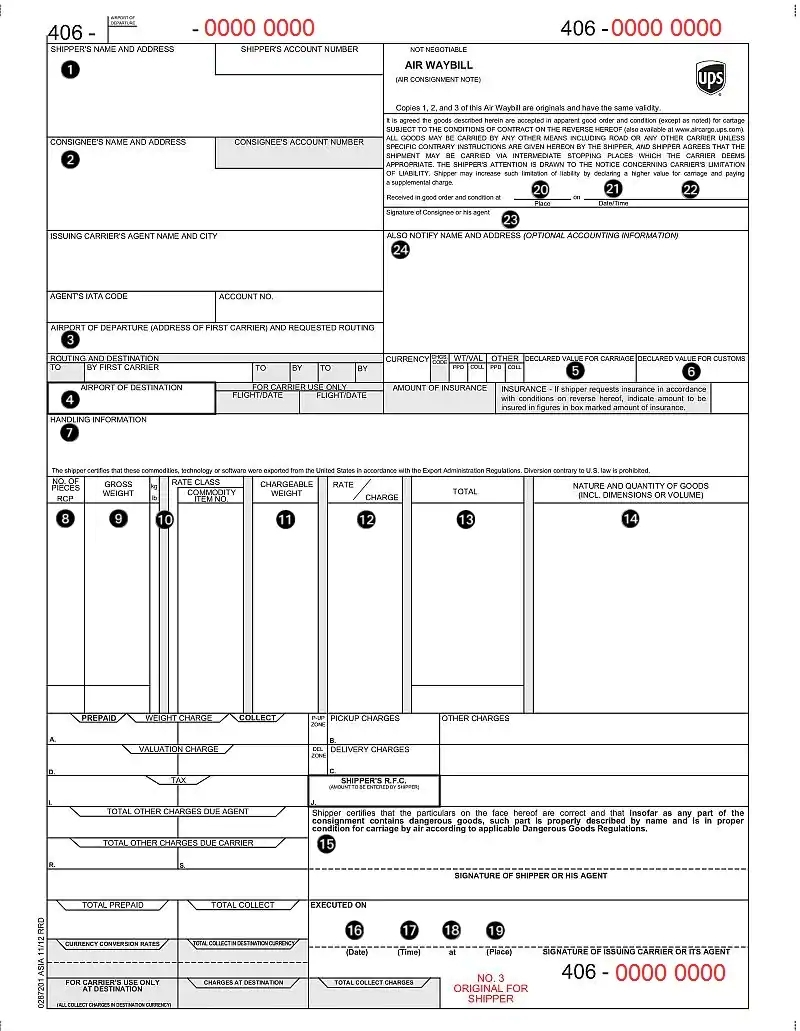 airway bill example format template