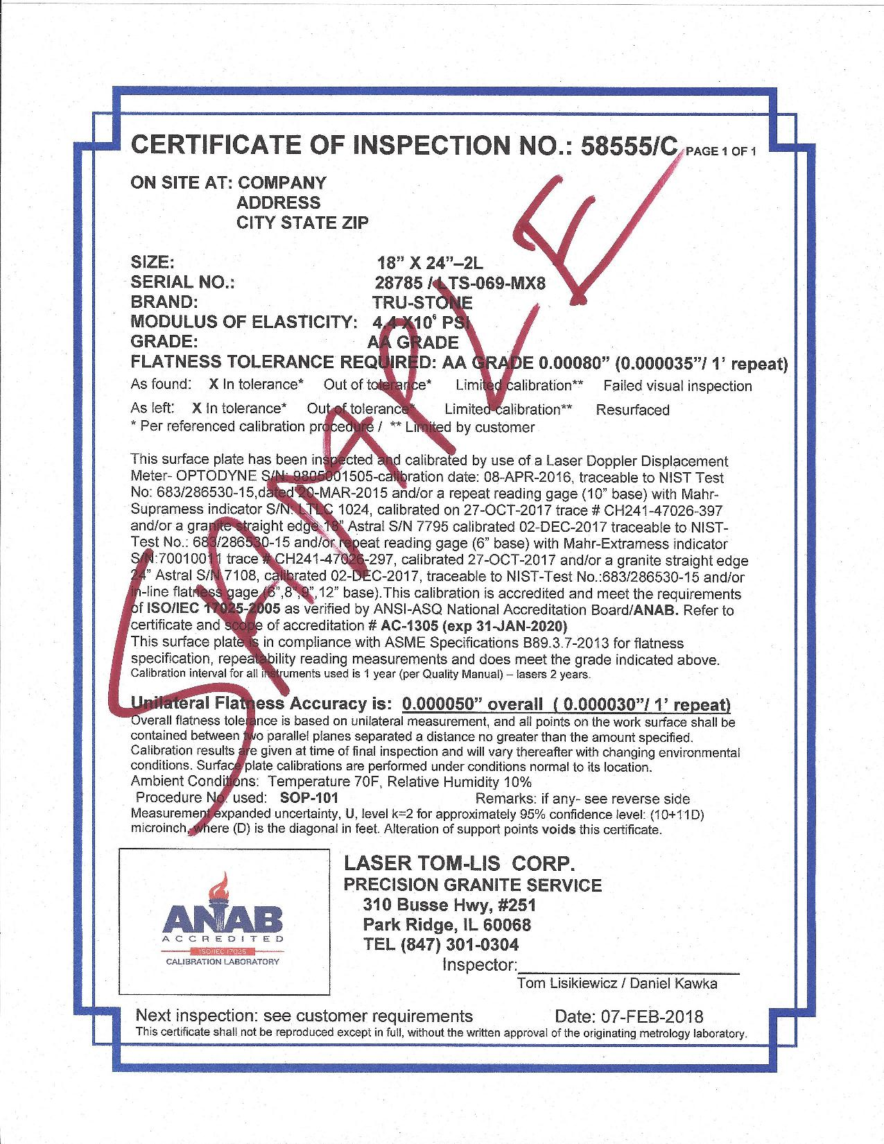 inspection certificate example format template