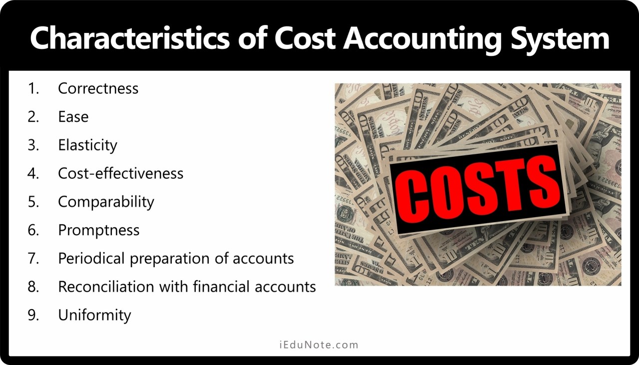 Characteristics of the Cost Accounting System