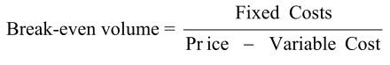 break-even volume formula