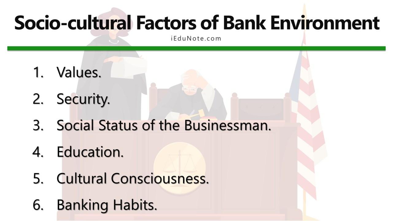 socio cultural factors of bank environment