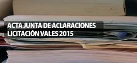 ACTA JUNTA DE ACLARACIONES LICITACIÓN VALES 2015