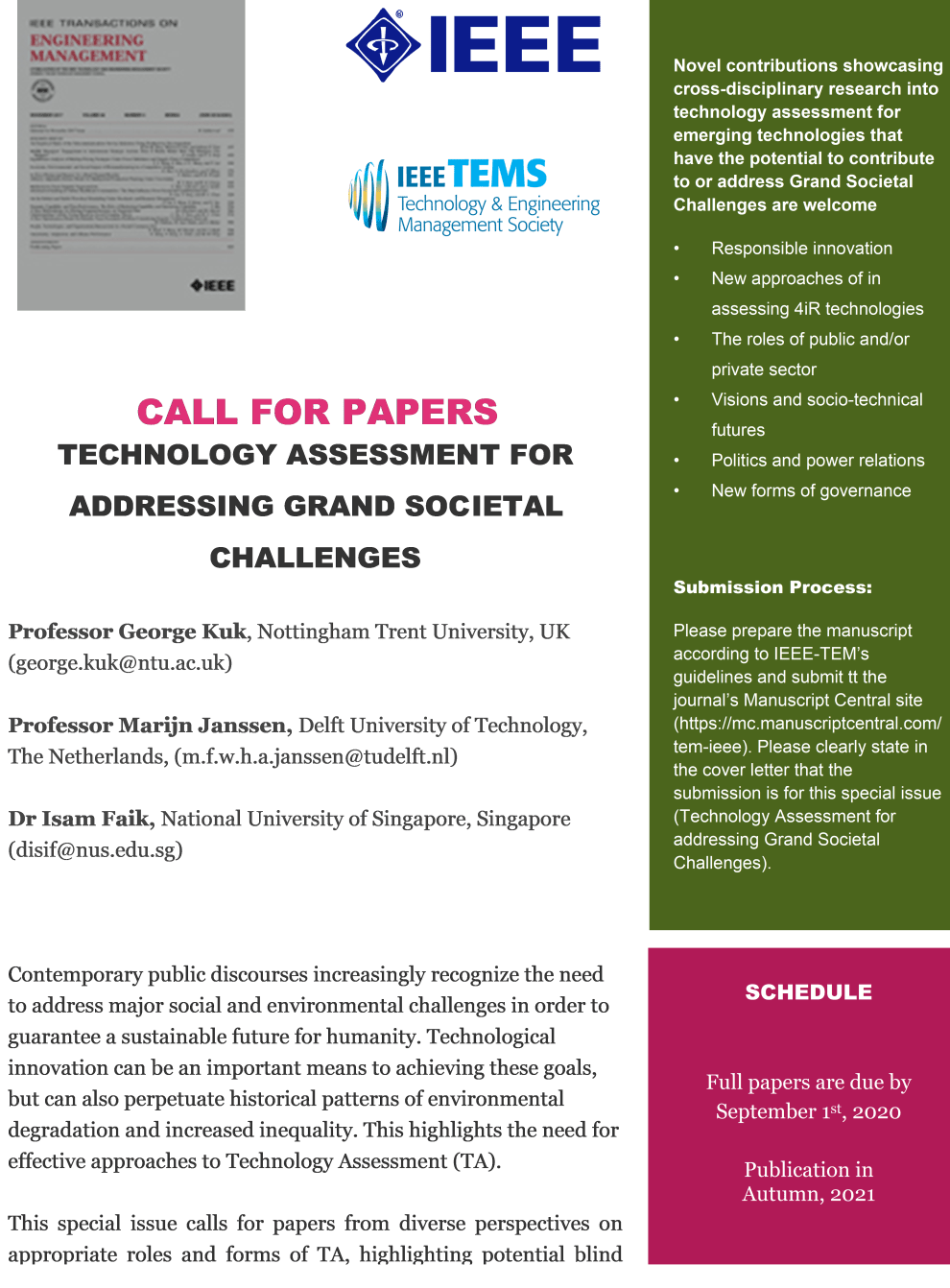 Special Issue: Technology Assessment for addressing Grand ...