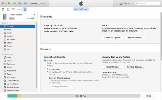 Step 5: How to Backup iPhone to iTunes: Click on manually backup iphone in itunes