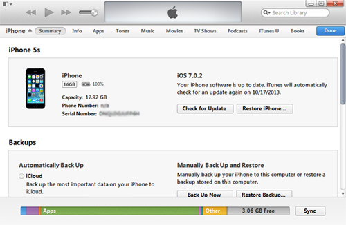 Step2: How to Backup iPhone to iTunes: Sync iPhone to Windows computer or mac