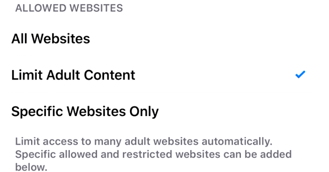 Tap on Limit Adult Content: How to block websites in Safari web browser on iPhone 7, 7 Plus, iPhone 6s Plus, iPhone 6 Plus, iPhone 5s, iPhone SE and iPad