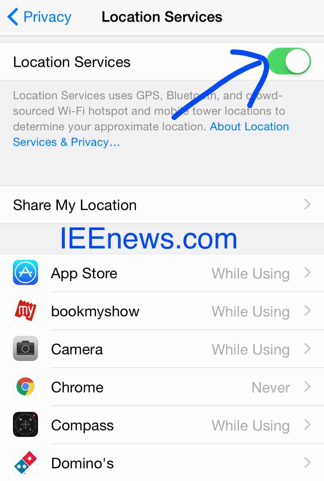 turn on location services iphone 5 how to turn on location services on ios 7 and ios 8 ieenews 3467
