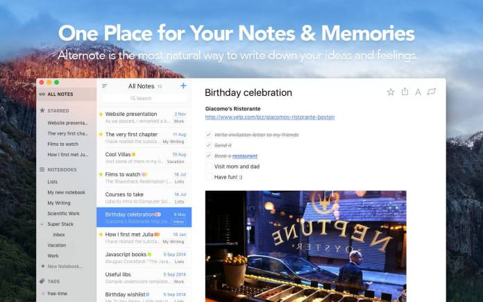 6 Alternote - Best free creative writing tools for writers
