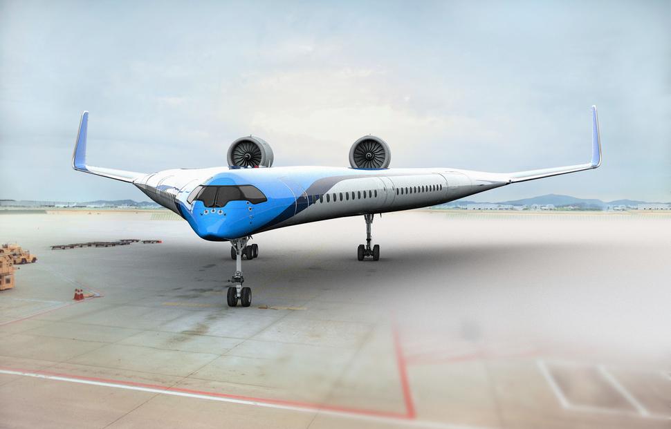 """Τo αεροσκάφος """"Flying-V"""" έχει δύο ατράκτους που αναπτύσσονται διαγωνίως από το ρύγχος του."""