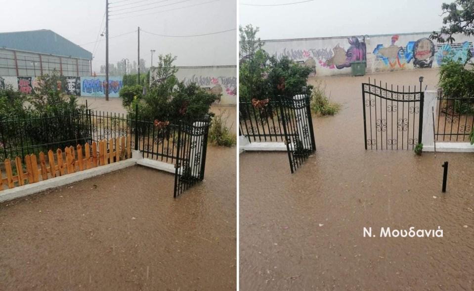 Πλημμύρες έξω από σπίτι στη Νέα Μουδανιά