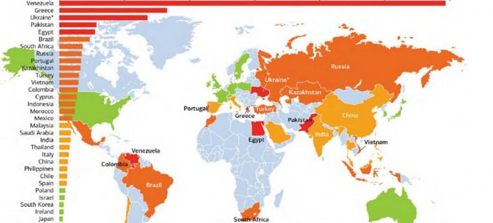 BofΑ: Βενεζουέλα και Ελλάδα οι χώρες που είναι πιθανότερο να χρεοκοπήσουν -Ποιες συμπληρώνουν τη 10άδα [λίστα & χάρτης]