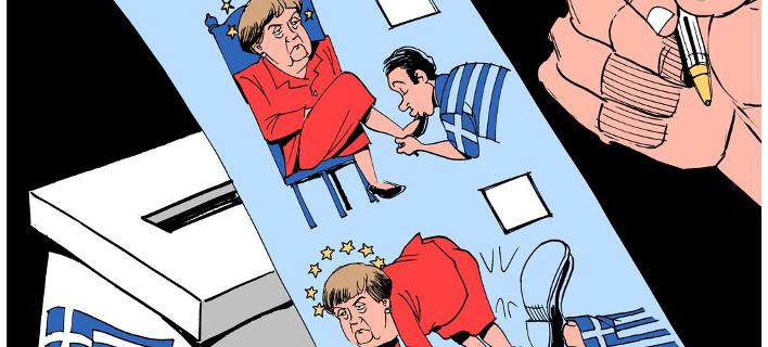 H γελοιογραφία της Telegraph για τις ελληνικές εκλογές: Οι Ελληνες έδωσαν κλωτσιά στην Μέρκελ [εικόνα]