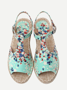 Green Canva Upper Flower Print Espadrille Sandals
