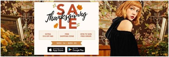 Zaful Thanksgiving sale
