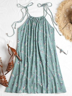 Turqoaise Knotted Floral Cami Dress