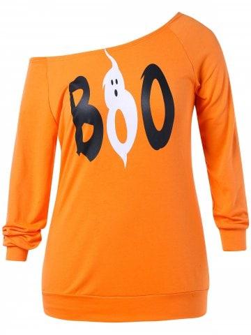 orange sweatshirt with a little and sweat phantom printed