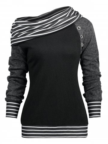 raglan Sleeve Stripe Trim Skew Neck T-shirt