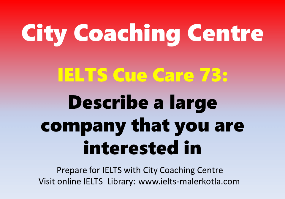 ielts cue card 73 describe a large company that you are
