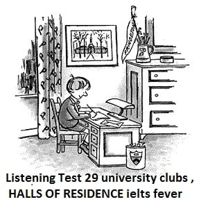 Listening Test 29 university clubs , HALLS OF RESIDENCE ielts exam