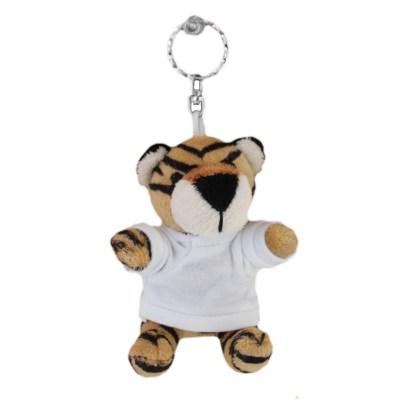 Knuffelsleutelhanger tijger met shirt