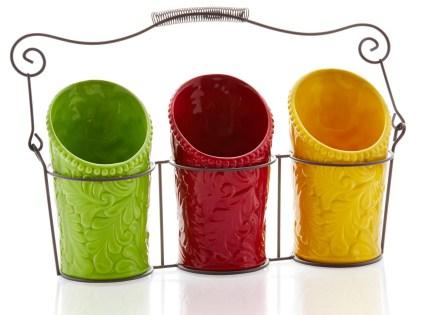 Kitchen Utensil Holder Set (4 Pieces) – 3 Ceramic Crocks & 1 ...
