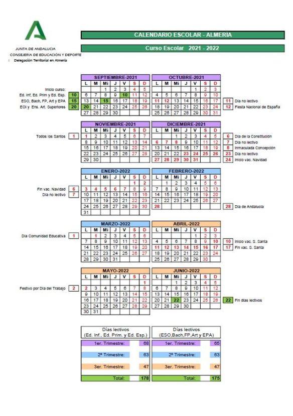 Calendario escolar almeria 2021 2022