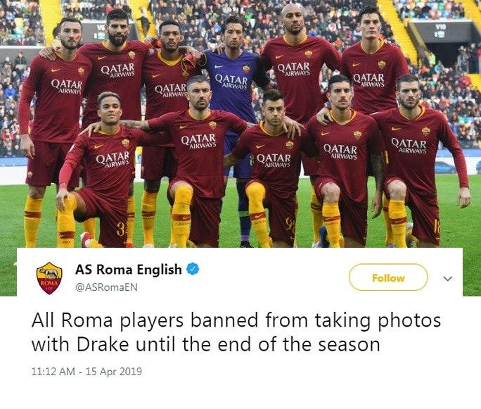 Fc Roma Bans Players from taking pictures with drake