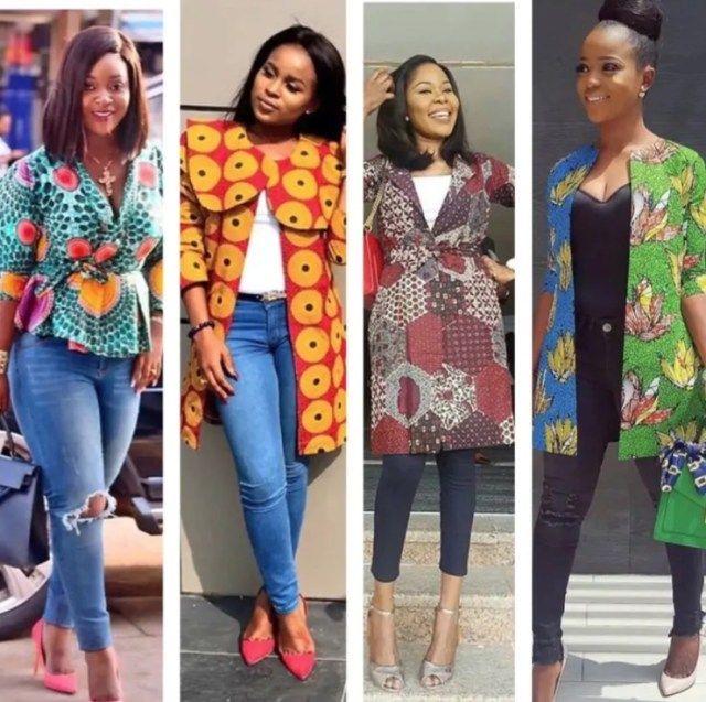 Ankara tops with denim  3