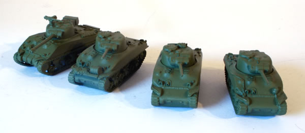 Flames of War British Sherman Firefly with three regular Shermans