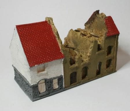 Ruined row of three houses