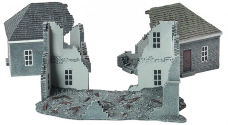 The Ruined Building includes a large two-storey house and two smaller houses, with extensive shelling or bombing damage, perfect for a wartorn 15mm urban battle zone.