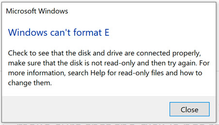 Windows can't format